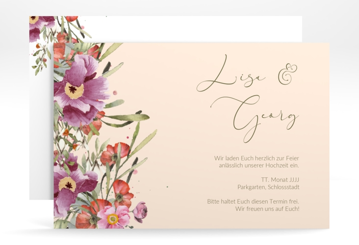 "Save the Date-Karte ""Rosey"" A6 quer"