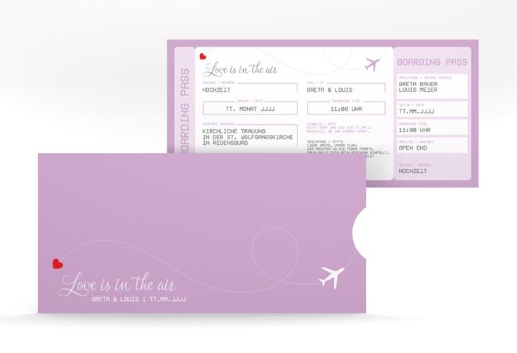 """Hochzeitseinladung """"Weddingpass"""" Einsteckkarte flieder"""