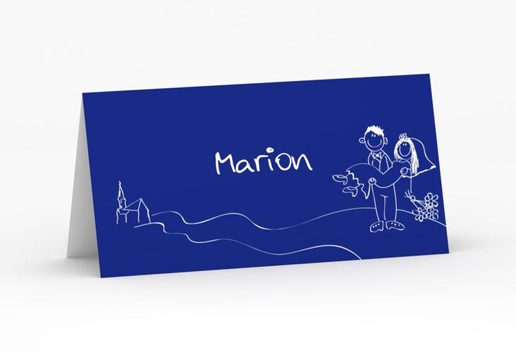 """Tischkarte Hochzeit """"Pisa"""" Tischkarten blau"""