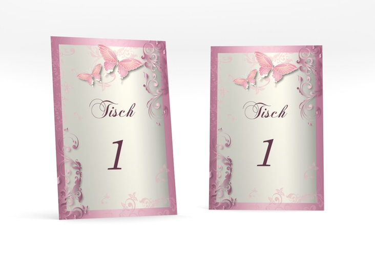 """Tischnummer Hochzeit """"Toulouse"""" Tischaufsteller rosa"""