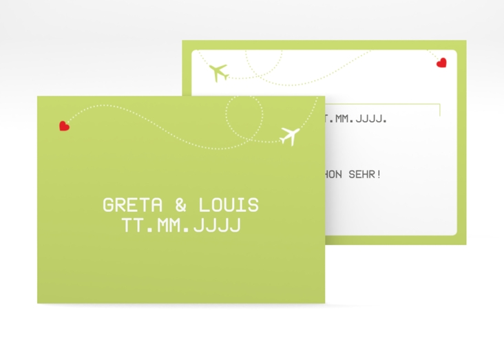 "Save the Date-Visitenkarte ""Weddingpass"" Visitenkarte gruen"