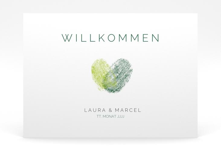 """Willkommensschild Poster """"Fingerprint"""" 70 x 50 cm Poster gruen"""