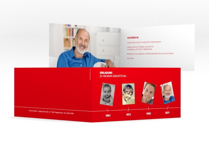 "Einladungskarte ""Timeline"" DIN lang Klappkarte rot"