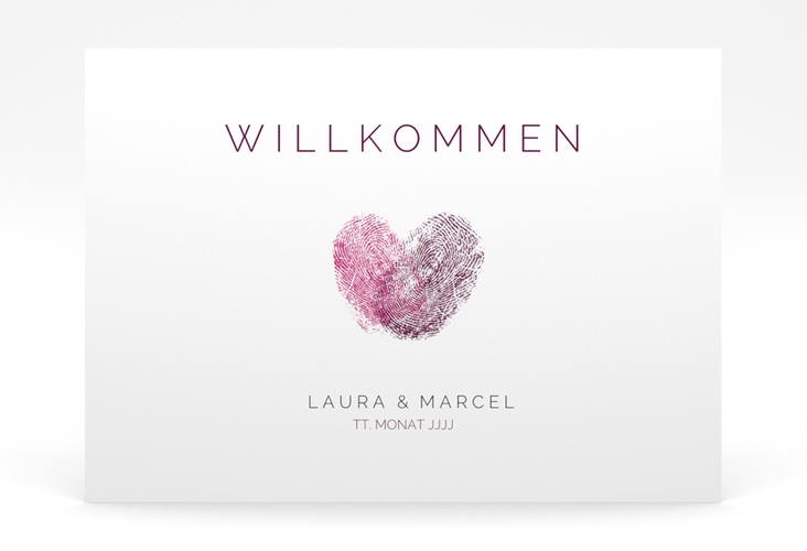 """Willkommensschild Poster """"Fingerprint"""" 70 x 50 cm Poster"""
