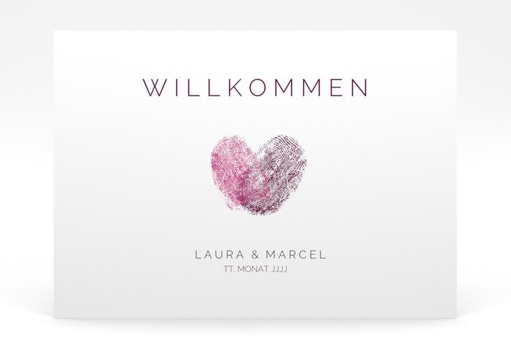 "Willkommensschild Poster ""Fingerprint"" 70 x 50 cm Poster pink"