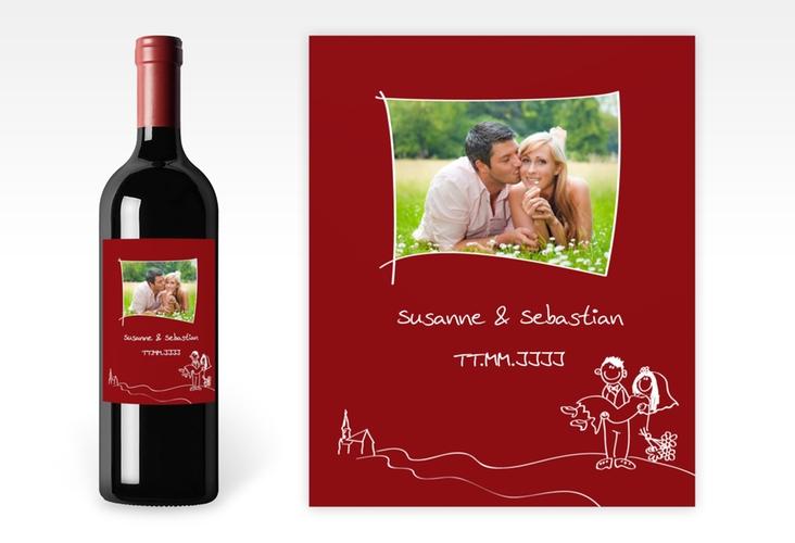 """Weinflaschenetikett Hochzeit """"Pisa"""" Etikett Weinflasche 4er Set rot"""