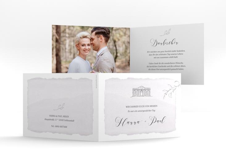 "Danksagungskarte Hochzeit ""Villa"" A6 Klappkarte Quer flieder"