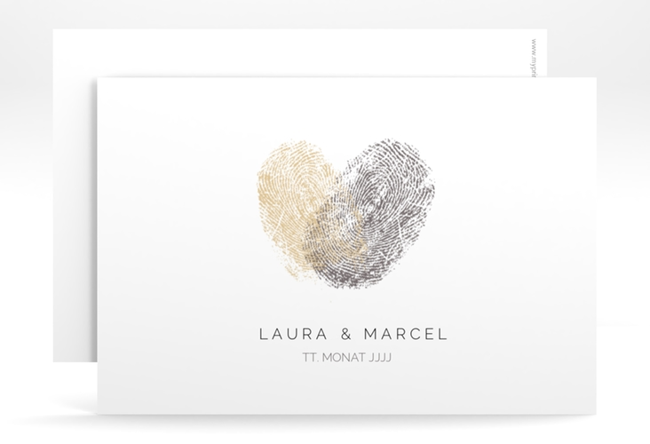 "Save the Date-Karte ""Fingerprint"" A6 quer beige"