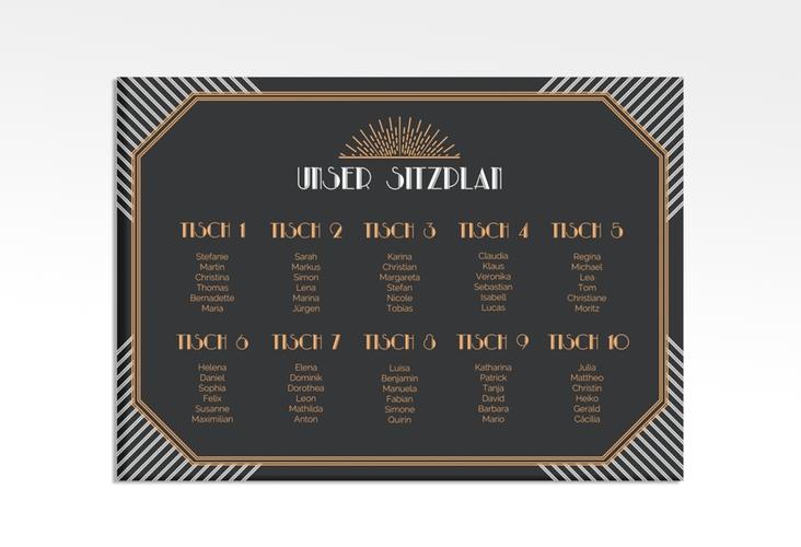 "Sitzplan Leinwand Hochzeit ""Gatsby"" 70 x 50 cm Leinwand"