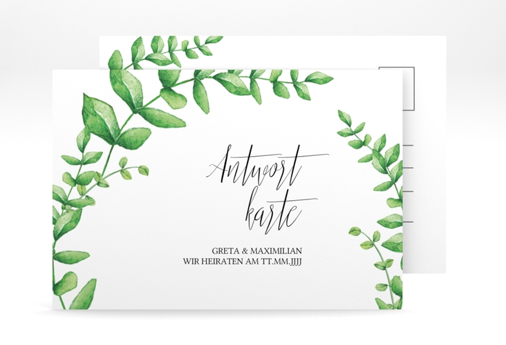"Antwortkarte Hochzeit ""Botanic"" A6 Postkarte weiss"