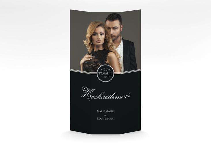 "Menükarte Hochzeit ""Elegancy"" DIN A4 Wickelfalz schwarz"
