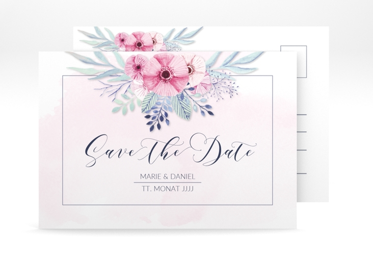 """Save the Date-Postkarte """"Surfinia"""" A6 Postkarte rosa"""