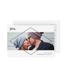 """Save the Date-Postkarte """"Yes"""""""
