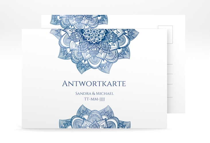 """Antwortkarte Hochzeit """"Delight"""" A6 Postkarte blau"""