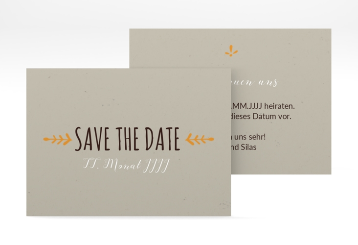 "Save the Date-Visitenkarte ""Eden"" Visitenkarte orange"