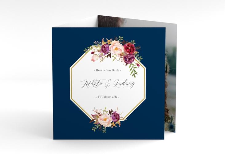 "Dankeskarte Hochzeit ""Prachtvoll"" Quadr. Karte doppelt blau"