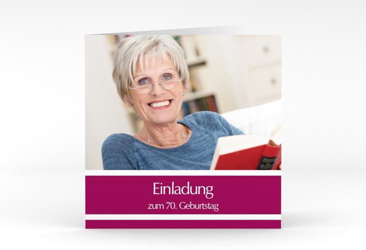 "Einladungskarte ""Gerd/Gerda"" Quadratische Klappkarte pink"