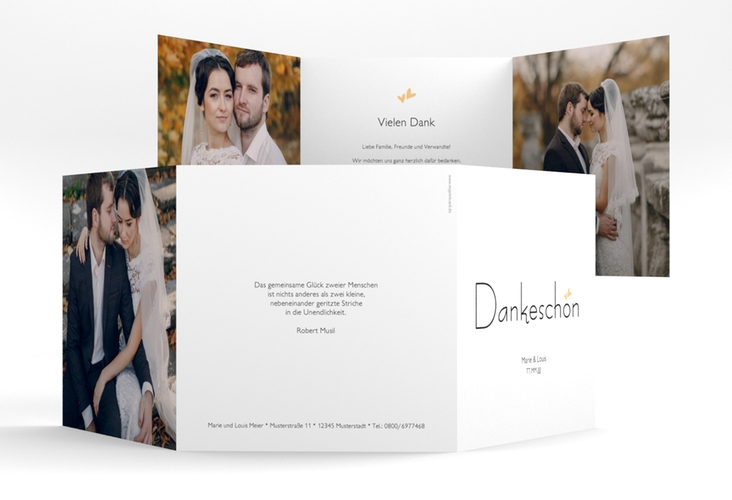 "Dankeskarte Hochzeit ""Twohearts"" Quadr. Karte doppelt beige"
