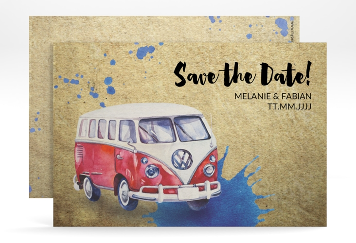 "Save the Date-Karte ""Bulli"" A6 quer"