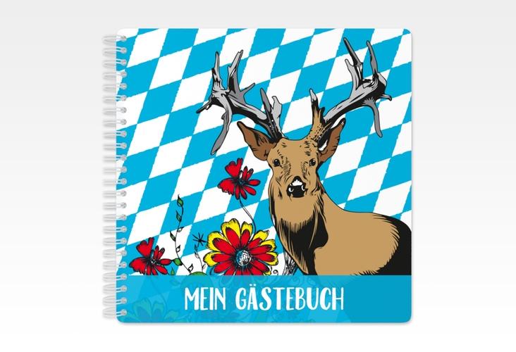 "Gästebuch Geburtstag ""Platzhirsch"" Ringbindung blau"