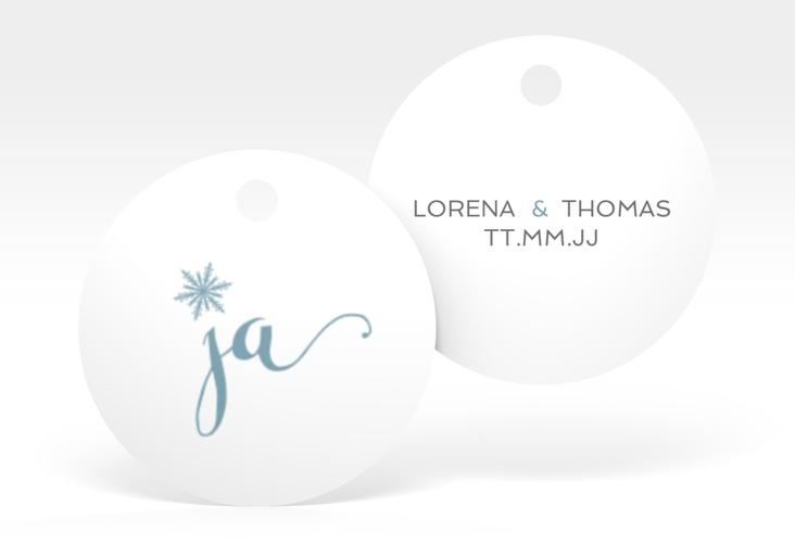 """Geschenkanhänger Hochzeit """"Snowflake"""" Geschenkanhänger, rund blau"""