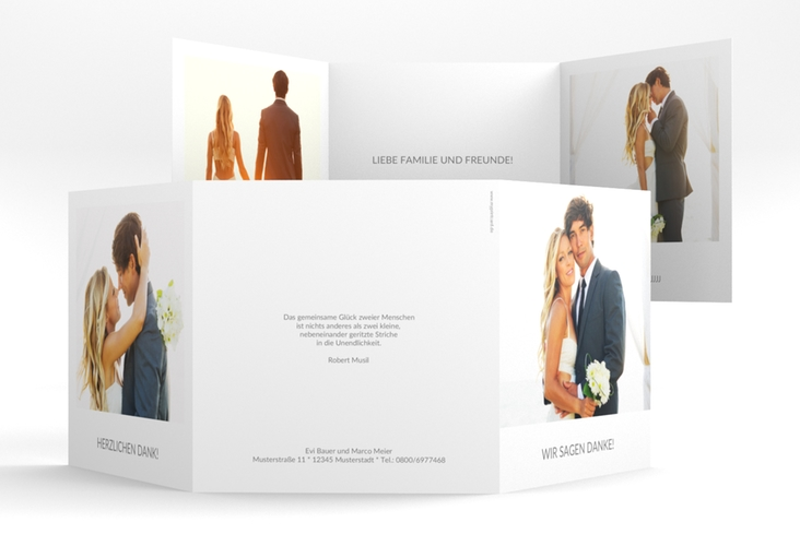 "Dankeskarte Hochzeit ""Vista"" Quadr. Karte doppelt weiss"