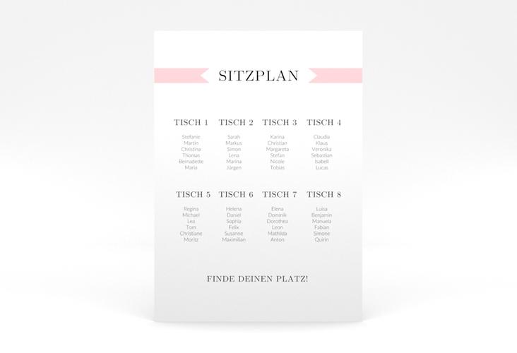 """Sitzplan Poster Hochzeit """"Tender"""" 50 x 70 cm Poster rosa"""