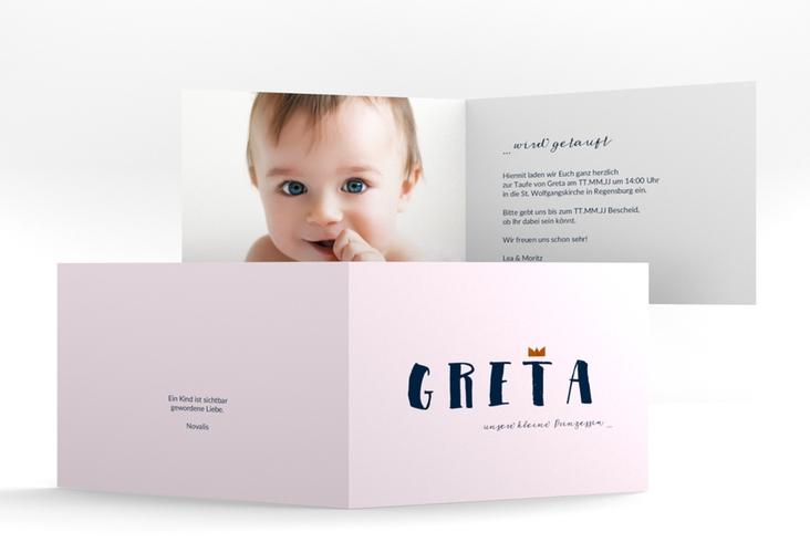 """Einladungskarte Taufe """"Crown"""" A6 Klappkarte Quer"""