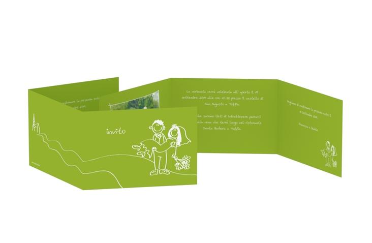 Inviti matrimonio collezione Pisa A6 doppelt geklappt verde