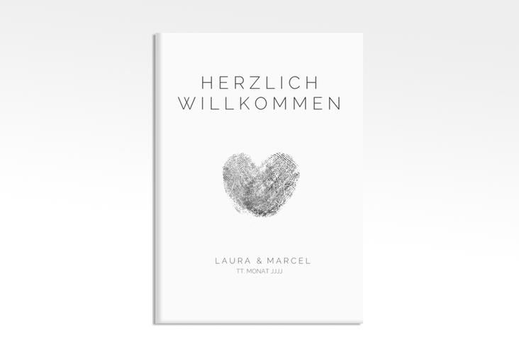"Willkommensschild Leinwand ""Fingerprint"" 50 x 70 cm Leinwand schwarz"