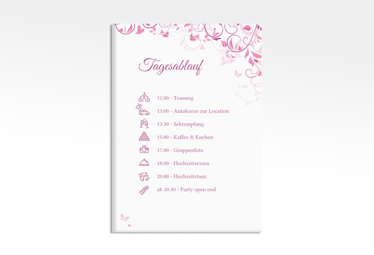 "Tagesablauf Leinwand Hochzeit ""Lilly"" 50 x 70 cm Leinwand pink"