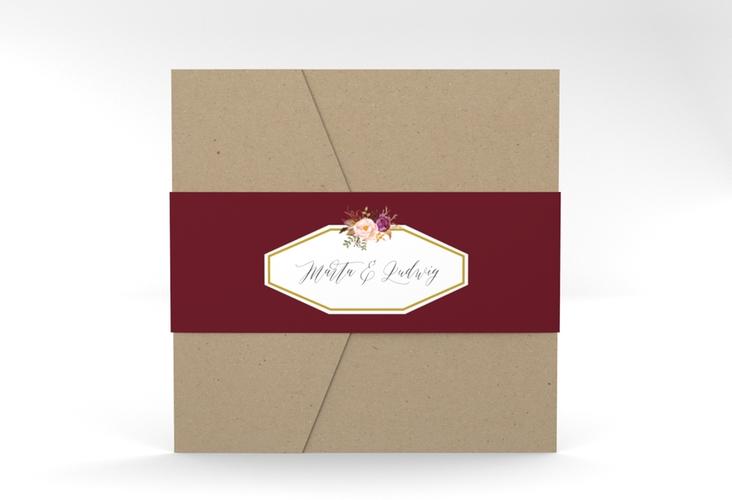 """Hochzeitseinladung """"Prachtvoll"""" Pocketfold rot"""