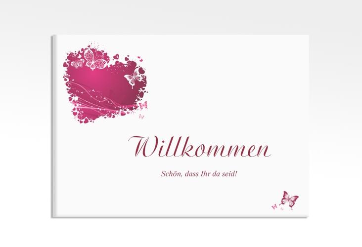 """Willkommensschild Leinwand """"Mailand"""" 70 x 50 cm Leinwand pink"""