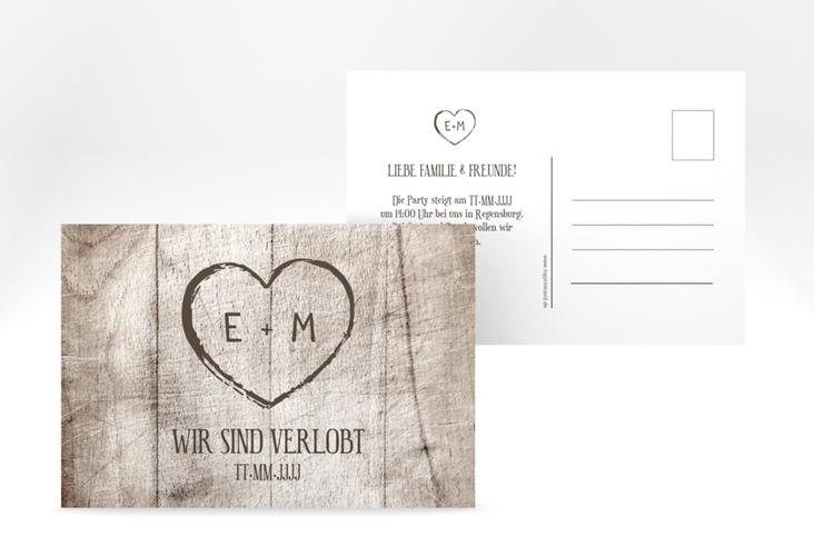 "Verlobungskarte Hochzeit ""Wood"" A6 Postkarte weiss"