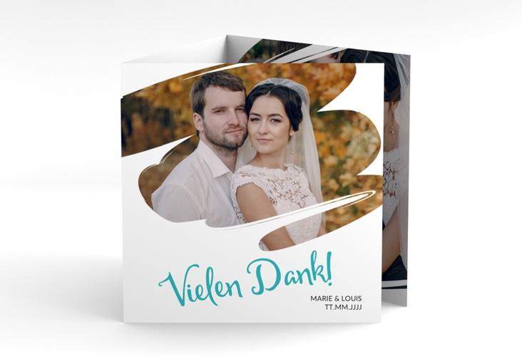 """Dankeskarte Hochzeit """"Felice"""" Quadr. Karte doppelt tuerkis"""
