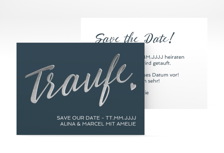 """Save the Date-Visitenkarte """"Traufe"""" Visitenkarte blau"""
