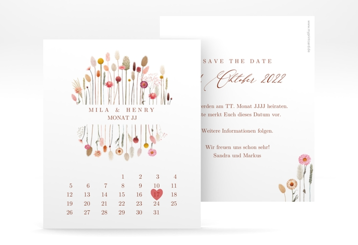 "Save the Date-Kalenderblatt ""Driedflower"" Kalenderblatt-Karte weiss"