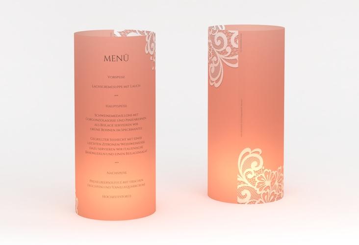 """Windlicht Menü Hochzeit """"Vintage"""" Windlicht apricot"""