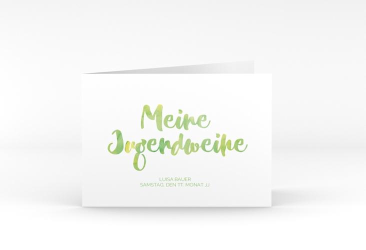 """Einladungskarte Jugendweihe """"Multicolored"""" A6 Klappkarte Quer gruen"""