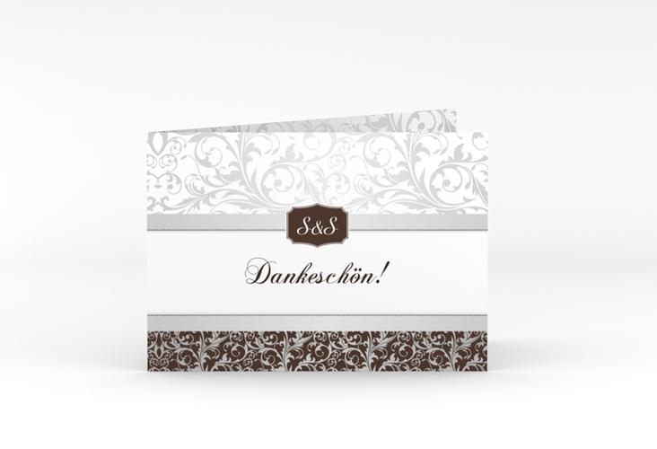 "Danksagungskarte Hochzeit ""Latina"" A6 Klappkarte Quer braun"