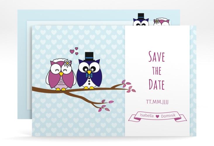 """Save the Date-Karte Hochzeit """"Eulenliebe"""" A6 quer blau"""
