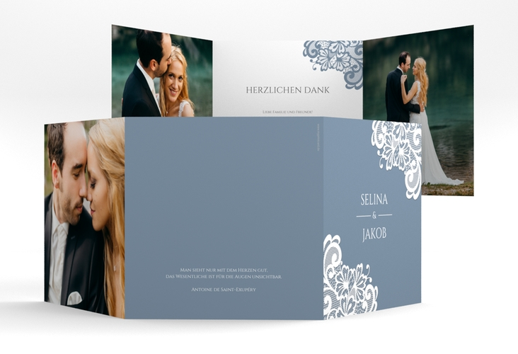 "Dankeskarte Hochzeit ""Vintage"" Quadr. Karte doppelt blau"