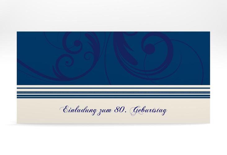 """Einladungskarte """"Katharina"""" DIN lang blau"""
