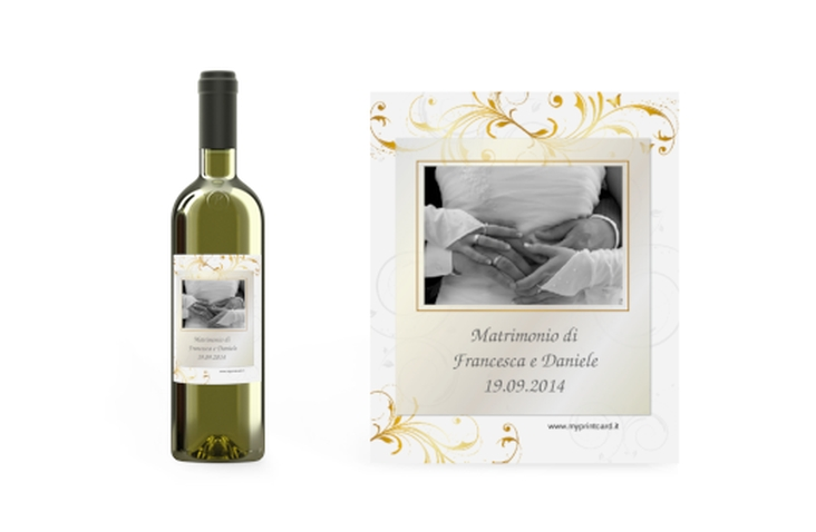 Etichette vino matrimonio collezione Palma Etikett Weinflasche 4er Set oro