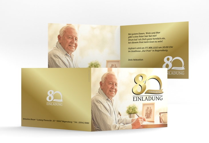 "Einladungskarte ""Golden"" A6 Klappkarte Quer"