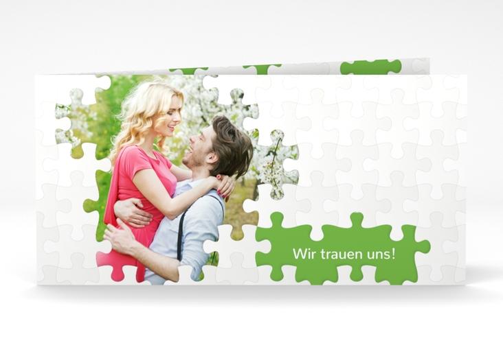"""Hochzeitseinladung """"Puzzle"""" DIN lang Klappkarte gruen"""