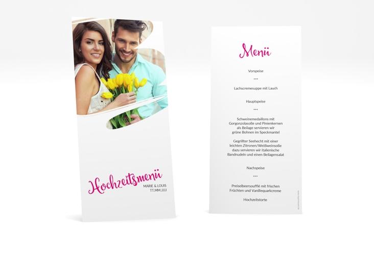 "Menükarte Hochzeit ""Felice"" DIN lang hoch pink"