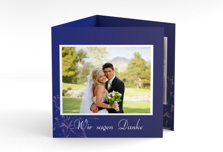 "Dankeskarte Hochzeit ""Lille"" Quadr. Karte doppelt blau"