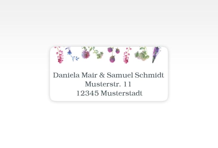 """Absenderetikett Hochzeit """"Wildblumen"""" 45,7 x 21,2 mm weiss"""