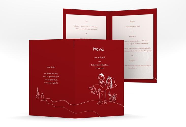 """Menükarte Hochzeit """"Pisa"""" DIN A5 geklappt rot"""